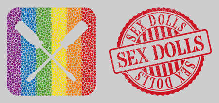 Distress Sex Dolls stamp seal and mosaic screwdrivers hole for LGBT. Dotted rounded rectangle mosaic is around screwdrivers carved shape. LGBT rainbow colors.