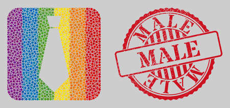 Distress Male stamp seal and mosaic male tie stencil for LGBT. Dotted rounded rectangle mosaic is around male tie stencil. LGBT rainbow colors. Red round distress seal with Male title.