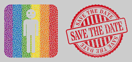 Grunge Save the Date seal and mosaic sad person stencil for LGBT. Dotted rounded rectangle mosaic is around sad person stencil. LGBT spectrum colors. Ilustração