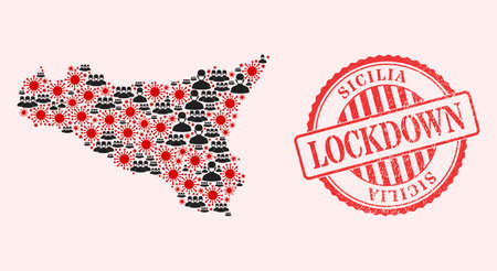 Vector collage Sicilia map of SARS virus, masked men and red grunge lockdown seal stamp. Virus cells and men in masks inside Sicilia map. Red stamp with grunge rubber texture and LOCKDOWN word.