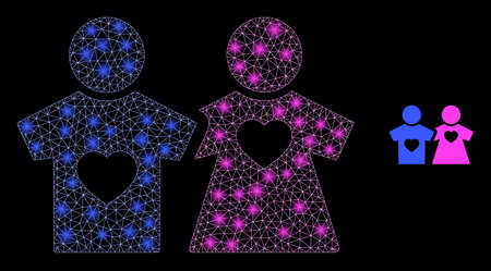 Glowing web mesh lovers persons with glowing spots. Illuminated vector 2d model created from lovers persons icon. Sparkle carcass mesh polygonal lovers persons.