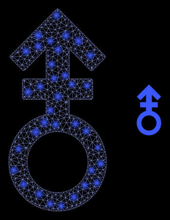 Glowing web network third gender symbol with light spots. Illuminated vector 2d model created from third gender symbol icon. Sparkle frame mesh polygonal third gender symbol.