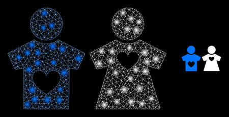 Shiny web network lovers pair with lightspots. Illuminated vector 2d model created from lovers pair icon. Sparkle frame mesh polygonal lovers pair. Wire frame 2D mesh in eps10 vector format, lines, 向量圖像