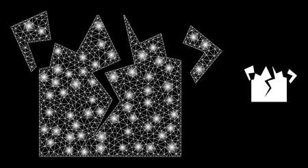 Glowing web network destruction with glowing spots. Illuminated vector 2d model created from destruction icon. Sparkle frame mesh polygonal destruction. Linear carcass 2D mesh in vector format, lines,