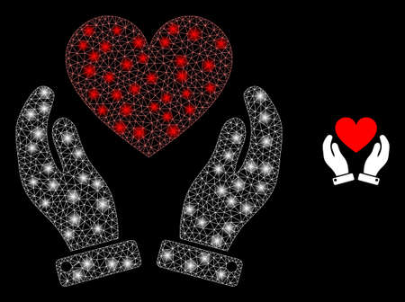 Shiny web mesh love heart care hands with lightspots. Illuminated vector 2d constellation created from love heart care hands icon. Sparkle carcass mesh polygonal love heart care hands.