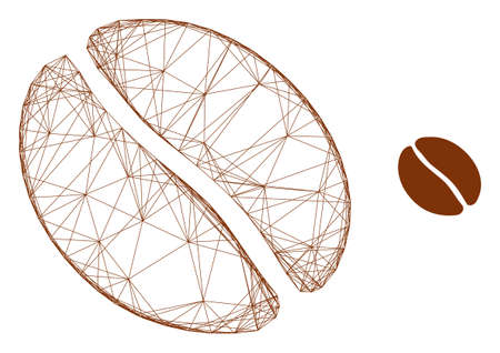 Web carcass coffee bean vector icon. Flat 2d carcass created from coffee bean pictogram. Abstract carcass mesh polygonal coffee bean. Net carcass 2D mesh in eps vector format, on a white background.