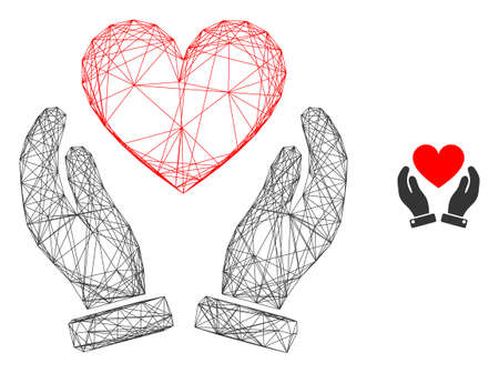 Web mesh love heart care hands vector icon. Flat 2d model created from love heart care hands pictogram. Abstract frame mesh polygonal love heart care hands. Net frame 2D mesh in vector EPS format,