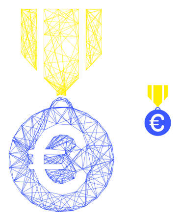 Web network euro medal vector icon. Flat 2d carcass created from euro medal pictogram. Abstract carcass mesh polygonal euro medal. Net carcass 2D network in vector format, on a white background. Vetores