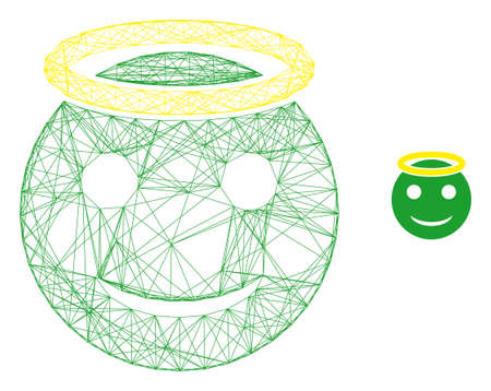 Web carcass holy smiley vector icon. Flat 2d carcass created from holy smiley pictogram. Abstract carcass mesh polygonal holy smiley. Wire carcass flat mesh in vector format,