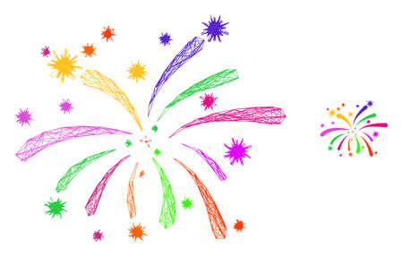 Web mesh viral fireworks vector icon. Flat 2d carcass created from viral fireworks pictogram. Abstract carcass mesh polygonal viral fireworks. Net carcass 2D network in vector format,