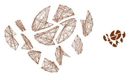 Web net coffee bean destruction vector icon. Flat 2d carcass created from coffee bean destruction pictogram. Abstract carcass mesh polygonal coffee bean destruction.  イラスト・ベクター素材