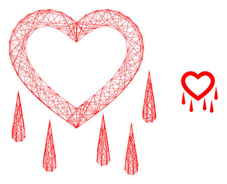 Web mesh crying heart vector icon. Flat 2d carcass created from crying heart pictogram. Abstract carcass mesh polygonal crying heart. Wire carcass 2D mesh in eps vector format, on a white background. Ilustração