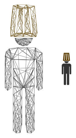 Web net idiot man vector icon. Flat 2d carcass created from idiot man pictogram. Abstract carcass mesh polygonal idiot man. Wire carcass 2D mesh in vector format, on a white background. Vettoriali