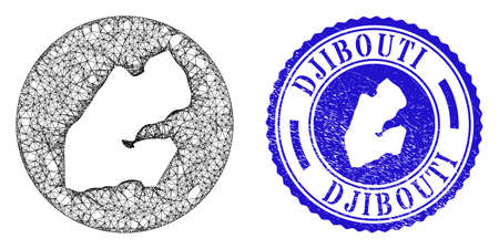 Mesh stencil round Djibouti map and grunge seal stamp. Djibouti map is stencil in a circle seal. Web carcass vector Djibouti map in a circle. Blue round scratched seal stamp.