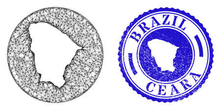Mesh stencil round Ceara state map and scratched seal stamp. Ceara state map is stencil in a circle stamp seal. Web net vector Ceara state map in a circle. Blue round textured seal.
