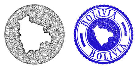 Mesh hole round Bolivia map and grunge seal stamp. Bolivia map is a hole in a circle seal. Web network vector Bolivia map in a circle. Blue rounded grunge seal. Stock Illustratie
