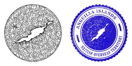 Mesh stencil round Anguilla Islands map and scratched seal. Anguilla Islands map is stencil in a circle stamp. Web net vector Anguilla Islands map in a circle. Blue round textured seal stamp. Stock Illustratie