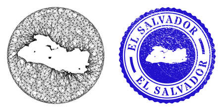 Mesh hole round El Salvador map and scratched seal stamp. El Salvador map is a hole in a circle stamp seal. Web net vector El Salvador map in a circle. Blue round textured stamp.