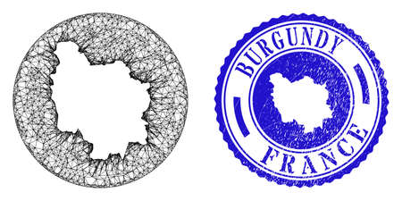 Mesh inverted round Burgundy Province map and scratched seal. Burgundy Province map is inverted in a circle seal. Web mesh vector Burgundy Province map in a circle. Blue round grunge seal.
