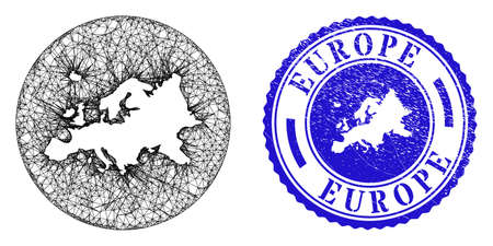 Mesh hole round Europe map and scratched stamp. Europe map is carved in a circle stamp seal. Web network vector Europe map in a circle. Blue round scratched seal stamp. Stock Illustratie