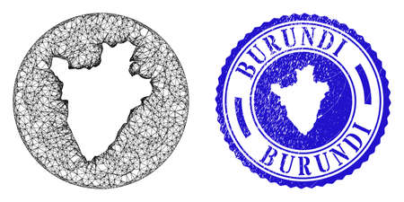 Mesh stencil round Burundi map and grunge seal stamp. Burundi map is a hole in a circle stamp. Web mesh vector Burundi map in a circle. Blue round distress seal. Stock Illustratie