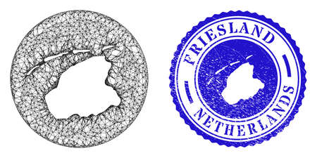 Mesh inverted round Friesland Province map and scratched seal stamp. Friesland Province map is carved in a circle stamp seal. Web carcass vector Friesland Province map in a circle. Stock Illustratie
