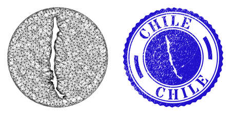 Mesh inverted round Chile map and grunge seal. Chile map is a hole in a round stamp seal. Web net vector Chile map in a circle. Blue rounded scratched seal stamp.