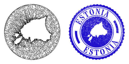 Mesh inverted round Estonia map and scratched seal stamp. Estonia map is inverted in a circle stamp. Web network vector Estonia map in a circle. Blue round scratched seal.
