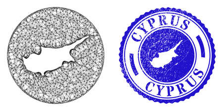 Mesh stencil round Cyprus map and scratched stamp. Cyprus map is carved in a circle stamp seal. Web net vector Cyprus map in a circle. Blue round scratched seal. Vettoriali