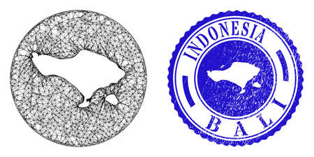 Mesh hole round Bali map and scratched seal stamp. Bali map is a hole in a circle seal. Web mesh vector Bali map in a circle. Blue rounded distress seal.