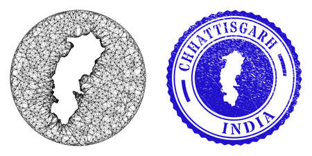 Mesh stencil round Chhattisgarh State map and scratched seal stamp. Chhattisgarh State map is stencil in a circle stamp. Web network vector Chhattisgarh State map in a circle.