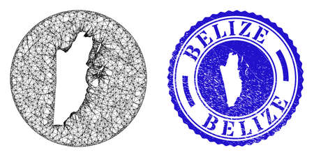 Mesh stencil round Belize map and scratched stamp. Belize map is stencil in a circle stamp seal. Web mesh vector Belize map in a circle. Blue rounded distress seal stamp. Stock Illustratie