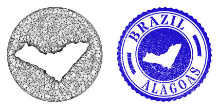 Mesh stencil round Alagoas State map and grunge seal stamp. Alagoas State map is stencil in a round seal. Web mesh vector Alagoas State map in a circle. Blue round grunge seal stamp.