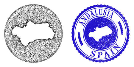 Mesh stencil round Andalusia Province map and grunge seal stamp. Andalusia Province map is a hole in a circle stamp. Web mesh vector Andalusia Province map in a circle. Blue rounded grunge stamp.