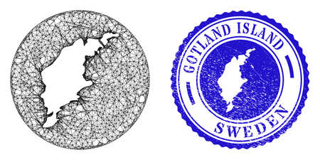 Mesh stencil round Gotland Island map and grunge seal stamp. Gotland Island map is carved in a round seal. Web mesh vector Gotland Island map in a circle. Blue round grunge seal.