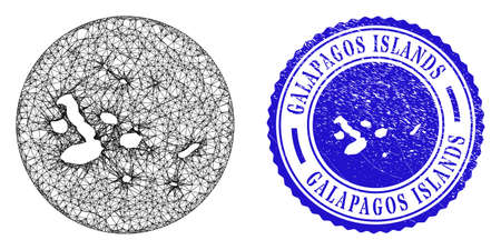 Mesh stencil round Galapagos Islands map and scratched seal stamp. Galapagos Islands map is carved in a circle seal. Web mesh vector Galapagos Islands map in a circle. Blue round distress seal stamp. Stock Illustratie