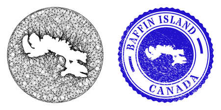 Mesh stencil round Baffin Island map and scratched seal stamp. Baffin Island map is stencil in a circle stamp seal. Web network vector Baffin Island map in a circle. Blue rounded scratched stamp. Stock Illustratie
