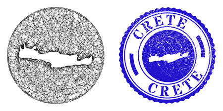 Mesh subtracted round Crete map and grunge seal stamp. Crete map is a hole in a round stamp seal. Web net vector Crete map in a circle. Blue rounded grunge seal stamp.