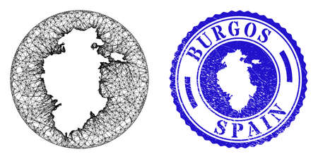 Mesh stencil round Burgos Province map and grunge seal stamp. Burgos Province map is inverted in a round stamp. Web net vector Burgos Province map in a circle. Blue rounded grunge stamp.