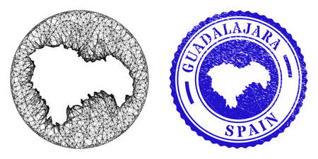Mesh stencil round Guadalajara Province map and scratched seal stamp. Guadalajara Province map is carved in a round stamp seal. Web mesh vector Guadalajara Province map in a circle.