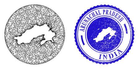Mesh inverted round Arunachal Pradesh State map and grunge seal stamp. Arunachal Pradesh State map is inverted in a round seal. Web mesh vector Arunachal Pradesh State map in a circle. Stock Illustratie