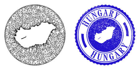 Mesh stencil round Hungary map and grunge seal stamp. Hungary map is stencil in a circle stamp. Web carcass vector Hungary map in a circle. Blue round distress seal stamp.