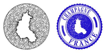 Mesh subtracted round Champagne Province map and grunge seal stamp. Champagne Province map is carved in a circle seal. Web carcass vector Champagne Province map in a circle. Blue round grunge seal.