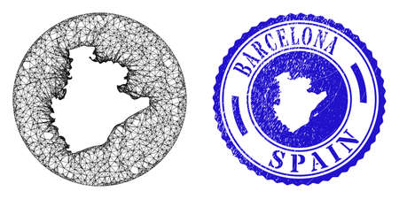Mesh hole round Barcelona Province map and scratched seal. Barcelona Province map is carved in a round stamp seal. Web mesh vector Barcelona Province map in a circle. Blue round scratched seal stamp.