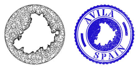 Mesh stencil round Avila Province map and grunge seal stamp. Avila Province map is a hole in a circle stamp. Web mesh vector Avila Province map in a circle. Blue round scratched seal stamp.