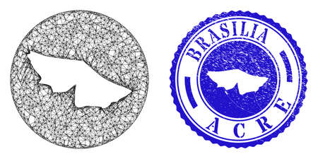 Mesh stencil round Acre State map and grunge seal stamp. Acre State map is stencil in a round stamp seal. Web net vector Acre State map in a circle. Blue round scratched stamp.