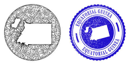 Mesh subtracted round Equatorial Guinea map and scratched seal stamp. Equatorial Guinea map is carved in a round stamp seal. Web net vector Equatorial Guinea map in a circle.