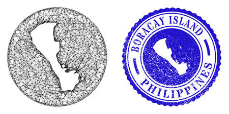 Mesh hole round Boracay Island map and scratched seal stamp. Boracay Island map is inverted in a round seal. Web network vector Boracay Island map in a circle. Blue rounded scratched seal stamp. Stock Illustratie