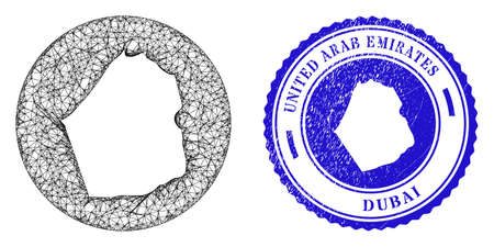 Mesh hole round Dubai Emirate map and scratched seal stamp. Dubai Emirate map is cut out from a round stamp seal. Web network vector Dubai Emirate map in a circle. Blue round textured seal stamp. Stock Illustratie
