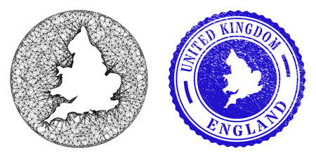 Mesh hole round England map and grunge stamp. England map is inverted in a round stamp seal. Web mesh vector England map in a circle. Blue round textured seal. Stock Illustratie